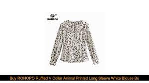 Best <b>ROHOPO</b> Ruffled V Collar Animal <b>Printed Long Sleeve</b> White ...