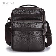<b>HUANILAI Men's Bag Genuine</b> Leather Shoulder Bags Cowhide ...