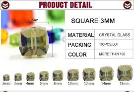 <b>ZHUBI</b> 100pcs 3mm Fashion Spacer <b>Cube</b> Faceted <b>Crystal</b> Bead ...