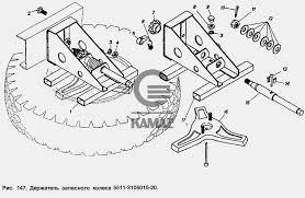 <b>Держатель запасного колеса</b> для автомобиля КАМАЗ 55102