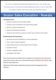 senior s executive nawala fmcg a that matters description senior s executive nawala fmcg