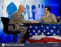 television star stephen colbert interviews commanding general of stock photo television star stephen colbert interviews commanding general of the multi national force us army general ray odierno during broadcast