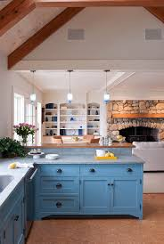 painted blue kitchen cabinets house: blue painted kitchen cabinets kitchen beach with alessi teapot beach house