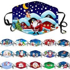 16 Styles <b>Christmas Santa Print</b> Unisex Face Masks Washable ...