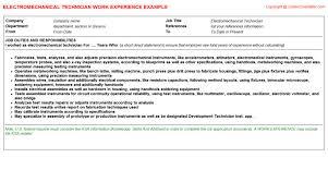 mechanical technician cv work experience   electromechanical technician