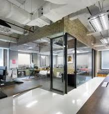 awesome office design with brown crick wall with awesome office spaces
