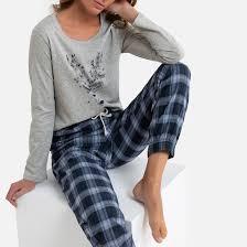 <b>Пижама</b> с длинными рукавами и брюками в клетку сине-серый <b>La</b> ...
