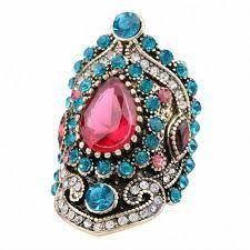 Turkey Jewelry Pink Big Vintage Blue Crystal ... - Amazon.com
