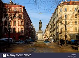 russia st petersburg a sculpture of russian poet alexander russia st petersburg a sculpture of russian poet alexander pushkin standing on pushkinskaya street just off nevsky prospekt
