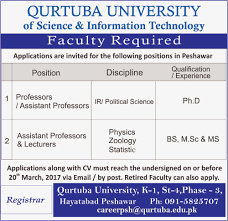 jobs faculty position for physics statistics and zoology at peshawar campus