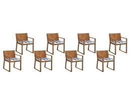 Set of 8 Garden <b>Dining Chairs with Cushions</b> Navy Blue and White ...