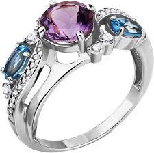 Серебряное <b>кольцо Aquamarine</b> 6906930A-<b>S-a</b> с аметистом ...