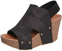 Hotcl_Women's Wedges <b>Women's Leather</b> Platform Wedge <b>Sandals</b> ...