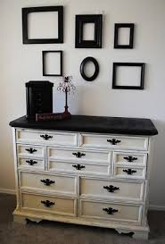 distressed white with black top and hardware black painted furniture ideas