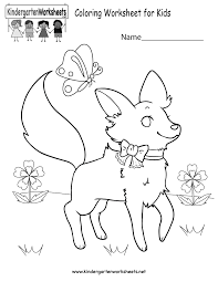 Free Kindergarten Coloring Worksheets - Learning with a fun activity.Coloring Worksheet for Kids