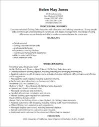 Clothing Sales Associate Resume Templates Duties of a Sales     SampleBusinessResume com