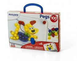 <b>Miniland Мозаика Pegs</b> 20 мм (100 элементов 6 картинок) в ...
