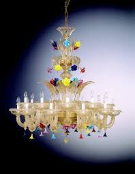 "<b>venetian glass chandelier</b> ""cleopatra"" with 18 <b>lights</b> - <b>murano glass</b>"
