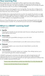 developing smart learning goals pdf the online learning plan at myqa allows you to develop and update your information easily