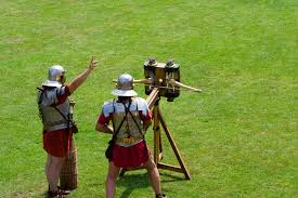 BBC   Primary History   Romans   Technology This a modern reconstruction of a      ballista      or crossbow used by the Roman army