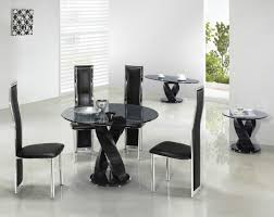 room modern camille glass:  dining room round black twirl glass dining table feature unique base in black also contemporary
