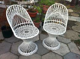 vintage wrought iron lounge chairs by woodard furniture in white for patio furniture ideas antique rod iron patio