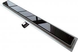 <b>Shower</b> channel GL01 - black glass <b>shower drain</b> - for walk-in ...
