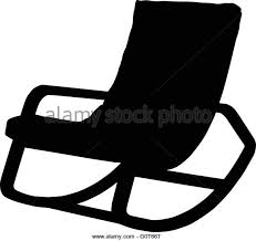 Silhouette Of Rocking Chair Isolated  Stock Image