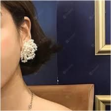 <b>Temperament</b> Lady Pearl Weave Small Flower <b>Round Earrings</b> ...