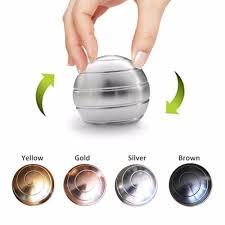 Silver <b>Rotating</b> Gyroscope Tabletop Ball Gyro Fingertips Toy Desk ...