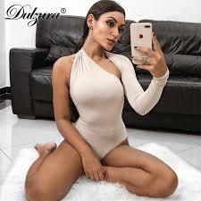Dulzura single long sleeve hollow out cut <b>women sexy</b> bodysuit ...