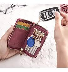 DIDE <b>New Fashion Genuine Leather</b> Car Key Wallets Women Card ...
