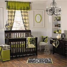glamur black chandelier with wooden nursery set plus green floral theme decorating idea boy high baby nursery decor