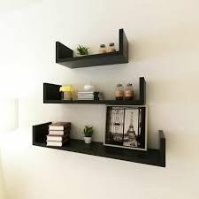 vidaXL 3x <b>Black MDF U-shaped</b> Floating Wall Display Shelves Book ...