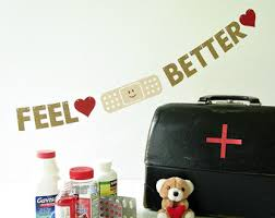 feel better mini banner get well soon gift band aid cheer up bunting hospital room decoration 2 gold glitter letter garland band office cubicle