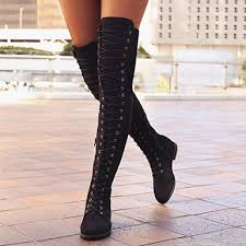women new design pointed toe thin heels high lace up thigh knee boots ladies sexy shoes top long black red