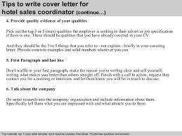 hotel sales coordinator cover letter 4 tips to write cover letter for sales coordinator cover letter