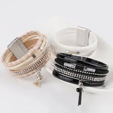 Women <b>Rhinestone Boho</b> Multilayer PU <b>Leather</b> Magnetic <b>Wrap</b> ...