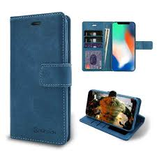 iShock iPhone X / XS <b>PU Leather Wallet Case</b> - Blue