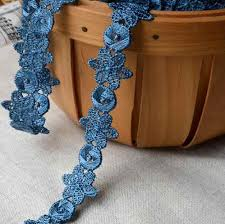 2 Meters Black Blue Polyester Floral <b>Embroidered Lace</b> Trim Water ...