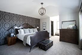 master bedroom feature wall: damask master bedroom feature wall traditional bedroom