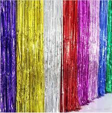 New Shimmering 100*<b>200CM Gold Silver</b> Metallic Tinsel Curtain ...