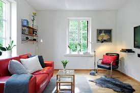 ordinary living room ideas for small spaces with red sofa and dark pillow with cheap furniture for small spaces