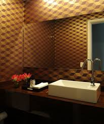 captivating home interior decorating small bathroom ideas showing chic pattern wallpaper and walnut furnished wooden vanity chic small white home