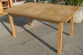 rectangle brown block dining table bench