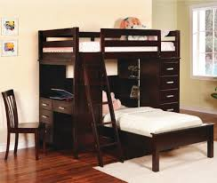 dark stained wood loft bed combo with stairs desk and cabinet system a dark stained wood bed and desk combo furniture