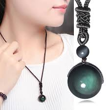 1 Pc Unisex Chic Lucky <b>Obsidian Pendant Necklace Fashion</b> ...