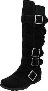 Cambridge Select <b>Women's Buckle</b> Sweater Knit Flat Knee-<b>High</b> Boot