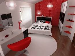 red wall paint black bed: red  orange and grey bedroom brown laminated wooden flooring oak wood painted desk wooden plank ceiling rectangle grey microfiber couch red white bedroom paint idea