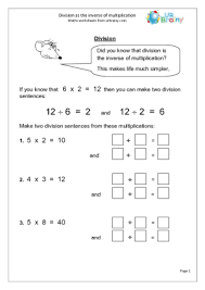 Year 3 Maths Worksheets (age 7-8)Division Inverse of Multiplication